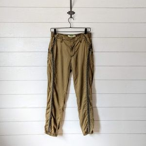 Anthropologie Moss Embroidered Joggers